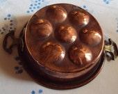 Heavy Vintage French Copper Egg Pan Brass Handles Shabby Chic Kitchenalia