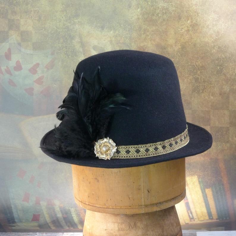 b198746261e Renaissance Elizabethan Flat Crown Tall Hat in Black fur felt