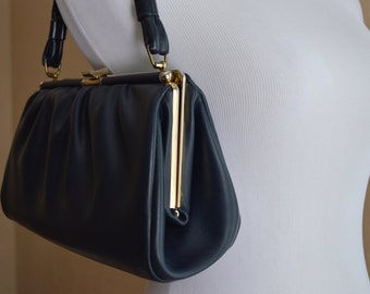 SALE ! Vintage 60s Navy and Gold Casual Purse