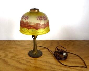 Art nouveau lamps etsy antique reverse painted lamp boudoir bedroom table lamp early 1900s reverse painted glass lamp shade art nouveau home decor aloadofball Images