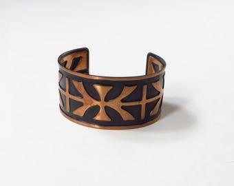 Vintage Copper Cuff Bracelet with Black Enamel Ladies Wide Copper Bracelet