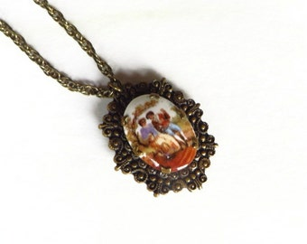 Hand Painted Locket Vintge Porcelain Portrait Courting Colonial Scene Locket with Chain
