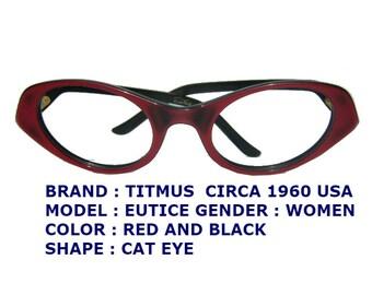 c3d0b8952244 TITIMUS EYEWEAR / RED cat eye / women eyewear / 1960 eyeglasses / titmus  cat eyeglasses /women cat eye / red and black cat eyewear