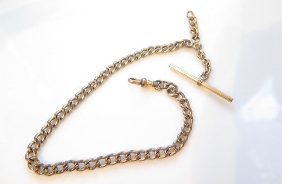 Victorian Watch Chain Gold Fill Bar Chain, Swivel,