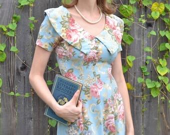 Tea Length Prairie Pinafore Dress - Secret Garden Peter Pan Collar Romantic Pink Sky Blue Floral Rose Cap Sleeve Feminine Day Frock, Roberta