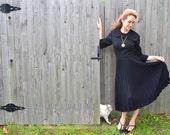 Black Talmack New York Dress Vintage 1940s Haute Couture Fashion Wednesday Addams Peter Pan Collar Tea Length Pleat NYC Designer Collectible