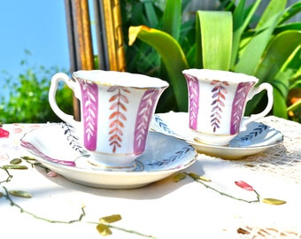 Mad About You Tea for Two - Antique Plum Vine Japanese Demitasse Tea Cups and Saucers