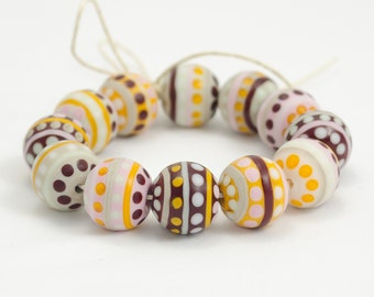 Blue Jeans /& Canvas Sneakers Handmade Lampwork Beads Neutral Beige Brown and Purple Blue