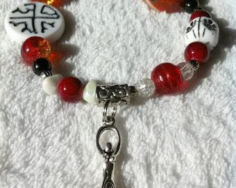 Red and white Goddess bracelet