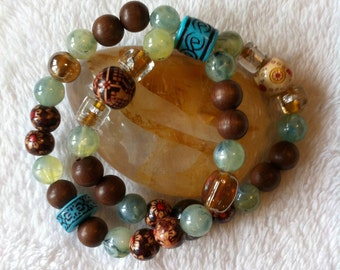 Brown and green boho hippie double strand bracelet