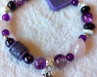 Purple and pink bracelet with rose quartz