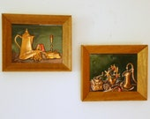 Vintage Kitchen Plaques, Tooled Copper, Framed Still Life, Colonial Revival, Early American