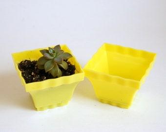 Lustro Ware Planters, Vintage Flower Pots, Yellow Plastic Lustroware, Tiny Succulent Pots