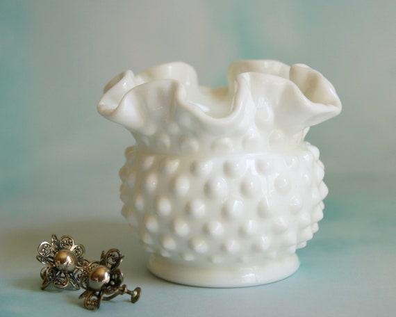 Fenton Milk Glass Vintage Hobnail Vase Small White Vase Etsy
