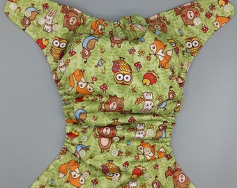 SassyCloth one size pocket diaper with forest baby animals PUL print. Ready to ship.