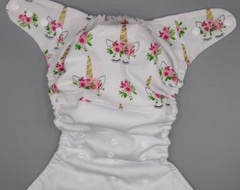 Cloth diaper SassyCloth one size pocket diaper with unicorns white cotton print. Made to order.