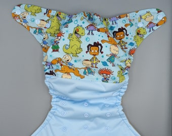 SassyCloth one size pocket diaper with cartoon rugrats cotton print. Made to order.