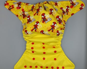 Cloth diaper SassyCloth one size pocket diaper with Spiderman cotton print. Made to order.