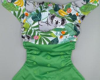 SassyCloth one size pocket cloth diaper with koala print. Made to order.
