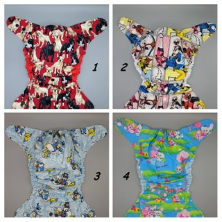 Cloth diaper SassyCloth one size pocket cloth diaper with cotton prints. Ready to ship.