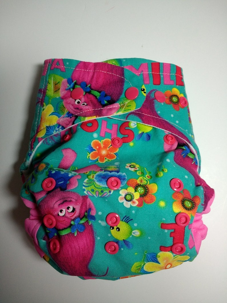 Cloth diaper SassyCloth one size pocket diaper with Troll princess cotton print Made to order.