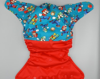 Cloth diaper SassyCloth one size pocket diaper with mario game cotton print. Made to order.
