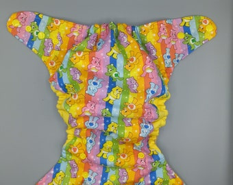 Cloth diaper SassyCloth one size pocket diaper with care bears cotton print. Made to order.