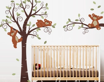 Wall Decals Swirly Tree With Lovely Teddy Bears Nursery Etsy