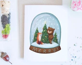 Red Fox and Bear Snow Globe Holiday Greeting Card