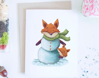 Red Fox Snowman Holiday Greeting Card