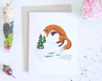 Red Fox Jumping in Snow Holiday Greeting Card