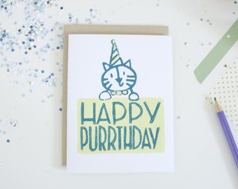 Happy Birthday Cat Greeting Card Unique Cards Funny Puns Lino Cut Block Printed