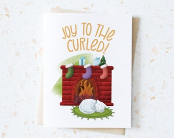 Joy to the Curled White Kitty Holiday Greeting Card | Catmas Cards | Feline Christmas Cards