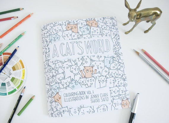 A Cats World Coloring Book Adult Animal Colouring Books