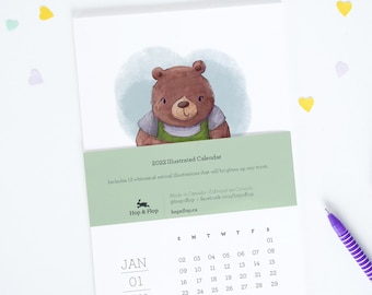 Everyday Animal Pun Calendar 2022, Animals and Careers, Illustrated Planner, Funny Animal Jobs