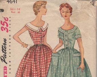 Bust 32-1950's Misses' Dress Simplicity 4641 Size 14