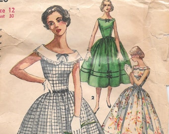 Bust 30-1950's Junior Misses' Dress With Detachable Collar Simplicity 1620 Size 12