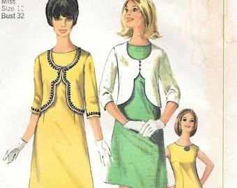 Bust 32-1965 Misses' Dress and Jacket Simplicity 6339 Sz 12