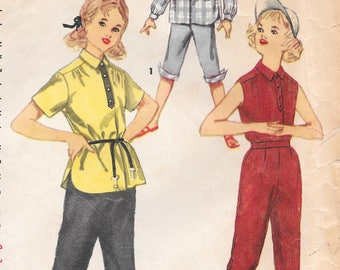 Sz 8-1950's Girl's Shirt With Peddle Pushers Simplicity 4987 Breast 26