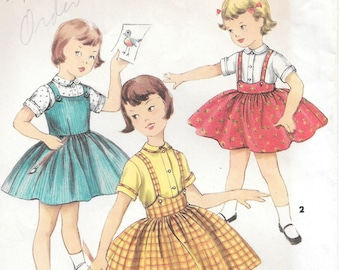 Sz 3-FACTORY FOLDED 1957 Child's Jumper Skirt and Blouse Simplicity 1702 Breast 22