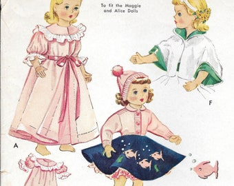 """FACTORY FOLDED 1953 18""""  Doll Clothes McCall's 1809 To Fit Maggie and Alice Dolls"""