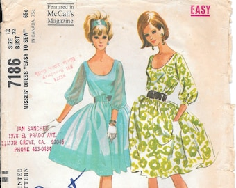 Bust 32-1964 Misses Dress McCall's 7186 Size 12