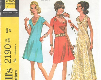 Bust 37-1969 Misses Dress in Two Lengths McCall's 2190 Size 14 1/2