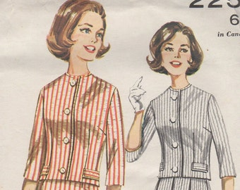 Bust 36-1960's Misses' Two-Piece Outfit Butterick 2258 Size 16