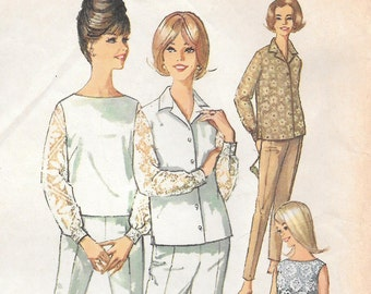 Bust 36-1960's Misses' Blouse, Top and Pants Simplicity 5509 Sz 16