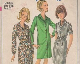 Bust 35-1966 Misses' Dress Simplicity 6700 Sz 14 1/2