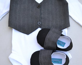 8bc7bb922e13 Brown Vest Bow tie Baby Boy Outfit Photo Prop Matching Shoes