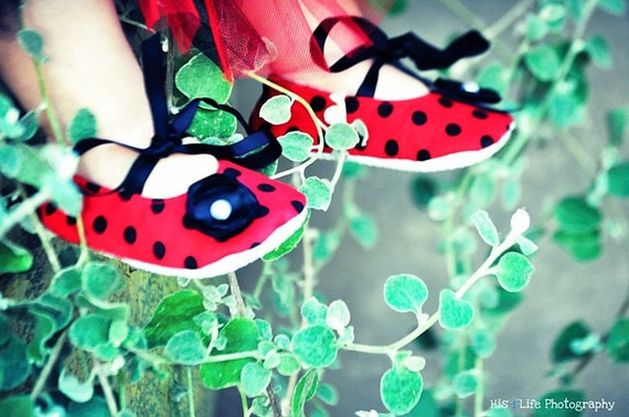 900709983a5 Red with Black Polka Dots Baby Shoes - Soft Ballerina Slippers Baby Booties