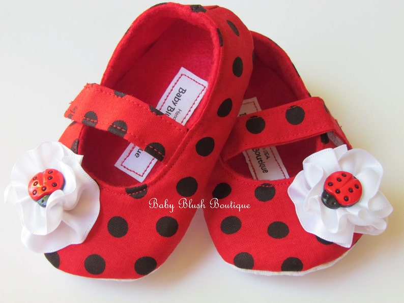 6933bdca29b Ladybug Red   Black Polka Dot Baby Shoes Soft Ballerina