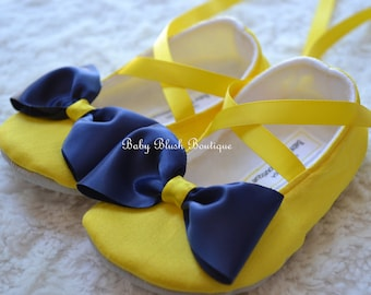 Yellow Dupioni with Navy Blue Bow Baby Shoes Ballerina Slippers